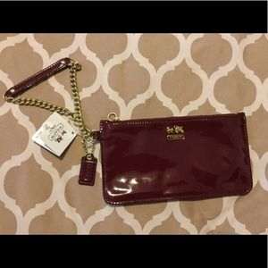 Coach Crimson Patent Leather Wristlets NWT
